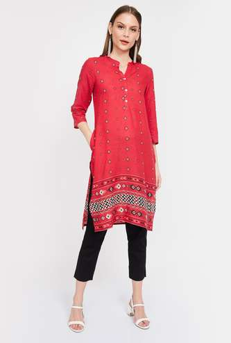 MEALNGE Printed Straight Kurta with Button Placket