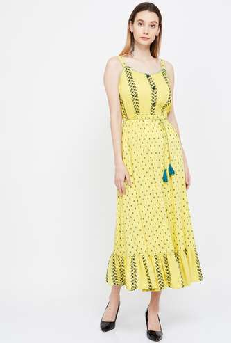 COLOUR ME Strappy Woven Maxi Dress with Pockets