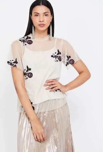 COVER STORY Embroidered Mesh Top