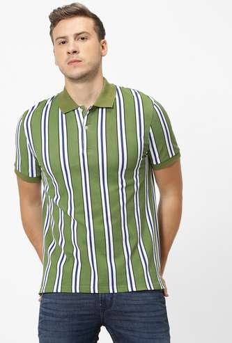 CELIO Striped Regular Fit Polo T-shirt
