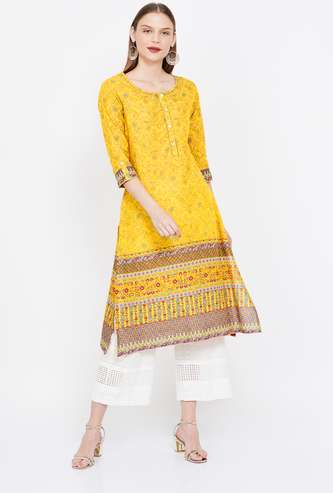 MELANGE Printed Three-quarter Sleeves Kurta