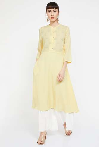 MELANGE Embroidered Three-quarter Sleeves A-line Kurta