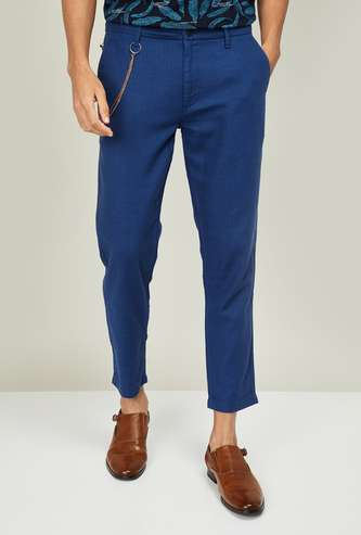 BOSSINI Men Solid Slim Tapered Casual Trousers
