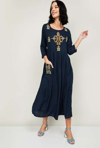 COLOUR ME Women Embroidered Midi Dress