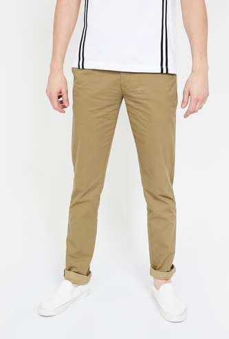 COLORPLUS Textured Slim Straight Chinos
