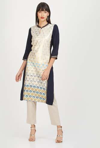 AURELIA Printed Colourblock Straight Kurta with Sequin Embellishments