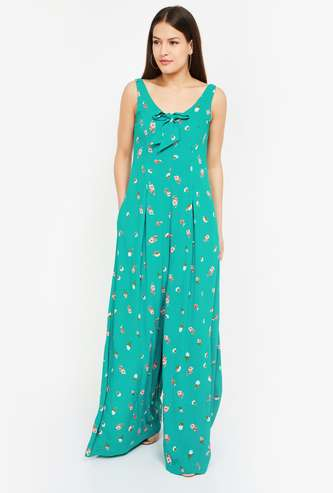 ONLY Floral Print Sleeveless Jumpsuit with Bow