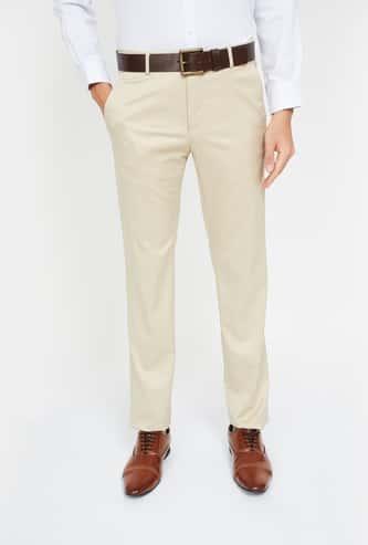 VAN HEUSEN Textured Slim Fit Formal Trousers