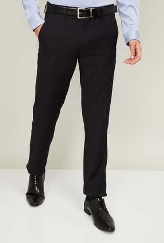 VAN HEUSEN Men Checked Slim Fit Formal Trousers
