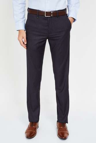 VAN HEUSEN Striped Slim Fit Formal Trousers