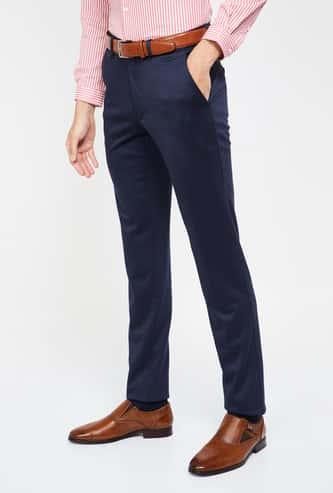 VAN HEUSEN Solid Super Slim Fit Formal Trousers