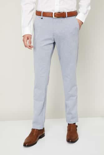 VAN HEUSEN Men Textured Super Slim Fit Formal Trousers