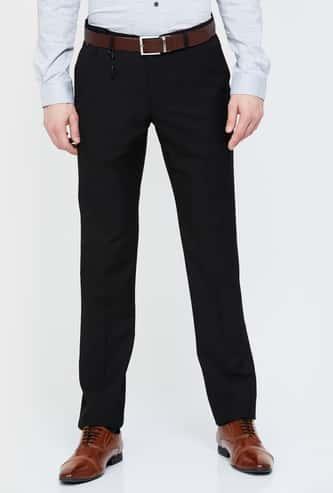 BLACKBERRYS Solid Slim Tapered Formal Trousers