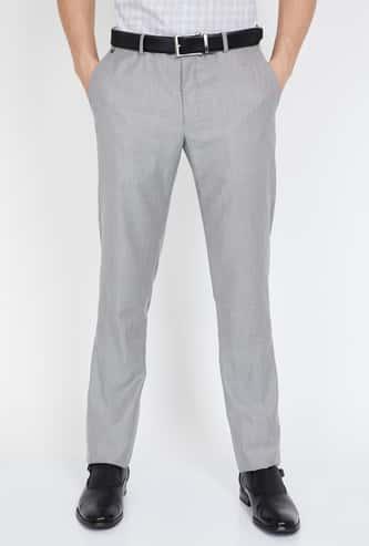BLACKBERRYS Textured Flat-Front Slim Fit Trousers