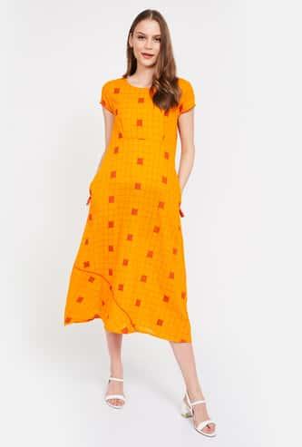 IMARA Checked A-line Midi Dress