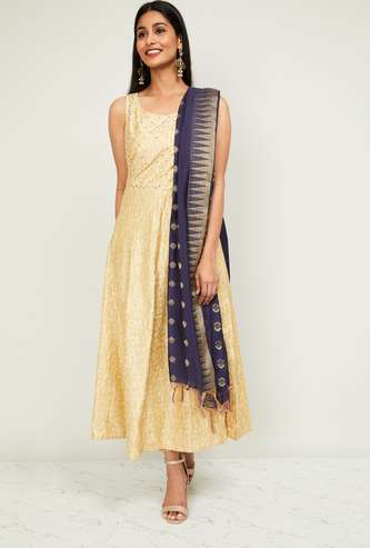 MELANGE Women Sequinned Sleeveless Anarkali Kurta with Dupatta
