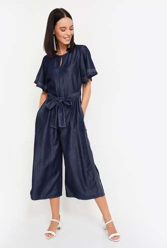 AND Women Solid Cropped Jumpsuit with Sash Tie-Up