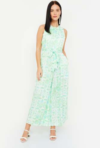 AND Tie-Dye Sleeveless Jumpsuit with Sash Tie-Up
