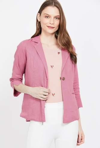 AND Solid Regular Fit Open-Front Blazer