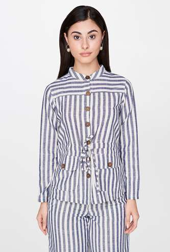AND Striped Button Down Jacket with Long Sleeves