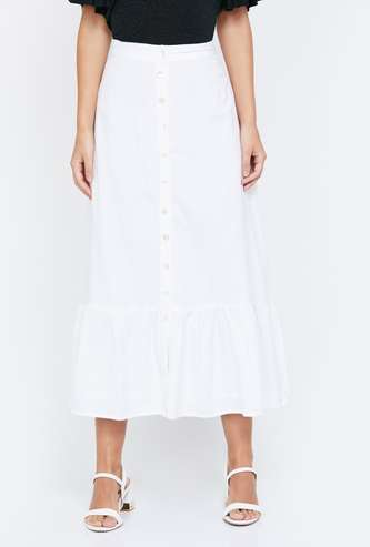 AND Solid Midi Skirt with Button Placket