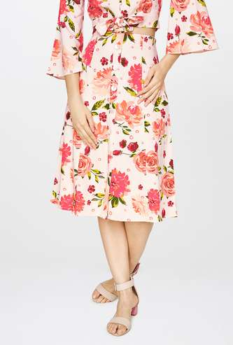 AND Floral Print High-Rise A-line Midi Skirt