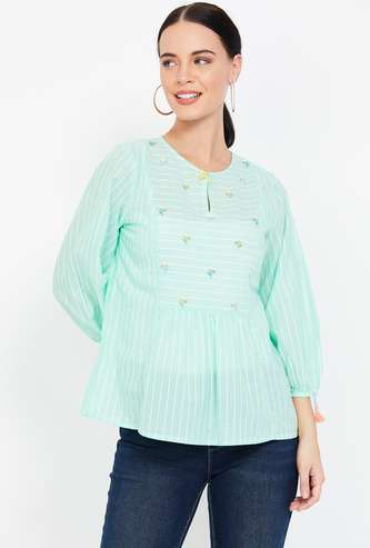 AND Striped Key-Hole Neck Top