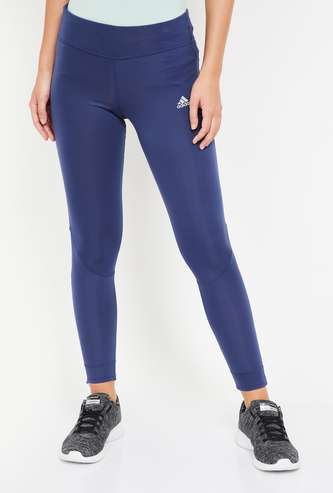 ADIDAS Women Solid Mesh Detailed Tights
