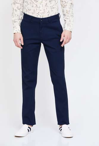 COLORPLUS Textured Super Slim Fit Casual Trousers