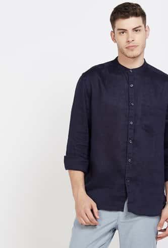 CODE Solid Full Sleeves Regular Fit Band Collar Shirt