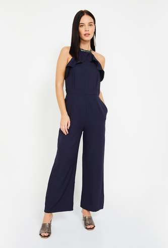 FABALLEY Cutaway Sleeves Solid Jumpsuit