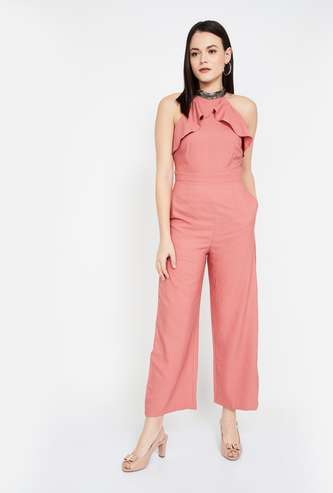 FABALLEY Solid Ruffled Jumpsuit