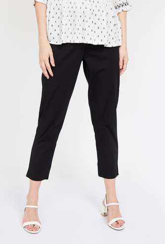 MELANGE Solid Elasticated Straight Pants