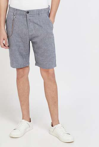 BOSSINI Textured Regular Fit Casual Shorts