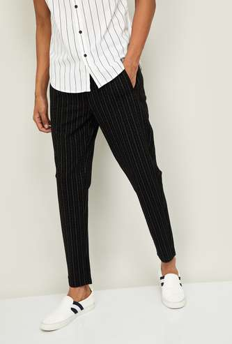JACK & JONES Men Striped Slim Tapered Casual Trousers
