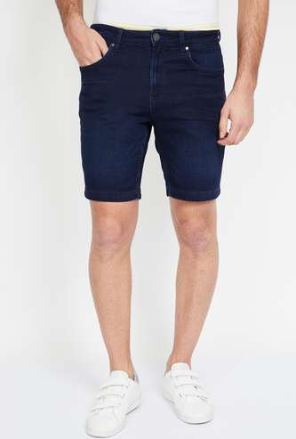 FORCA Stonewashed Slim Fit Denim Shorts