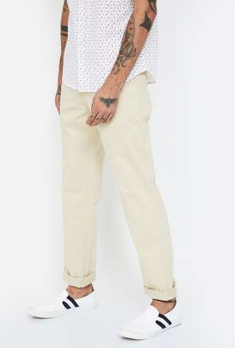 COLORPLUS Solid Slim Straight Casual Trousers