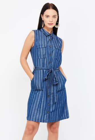 MS. TAKEN Striped Sleeveless Shirt Dress with Sash Tie-Up