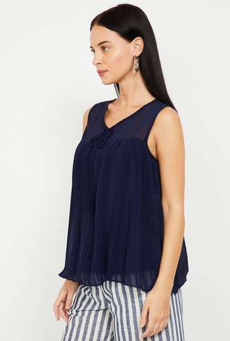 MS. TAKEN Pleated Sleeveless Layered Top