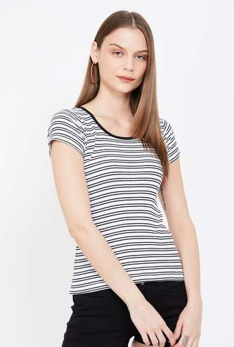 JEALOUS 21 Striped Cap Sleeves T-shirt