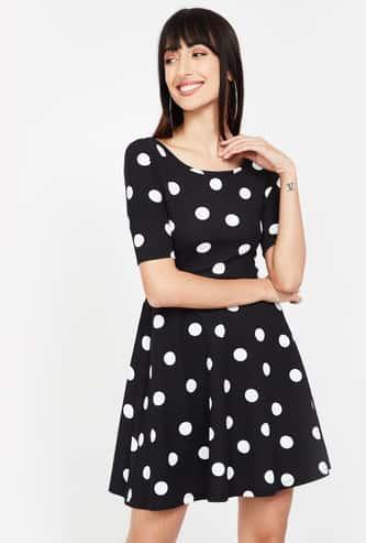 GINGER Polka Dot Print Short Sleeves A-line Dress