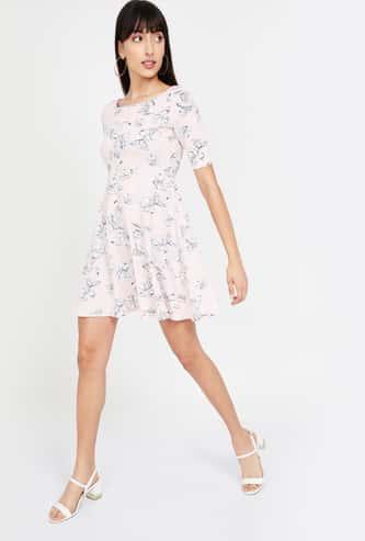 GINGER Floral Print Short Sleeves A-line Dress