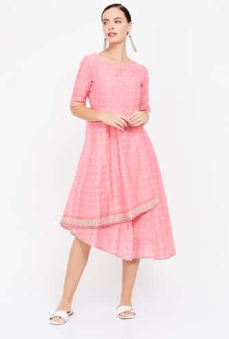 RANGRITI Printed Layered Dress
