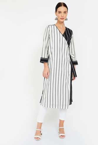 GLOBAL Desi Striped Wrap-Around Straight Kurta