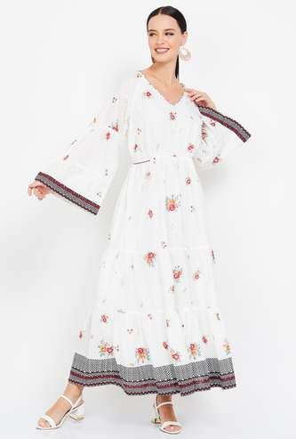 BIBA Floral Embroidered Dress with Bell Sleeves