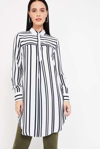 VERO MODA Striped Tunic with Spread Collar