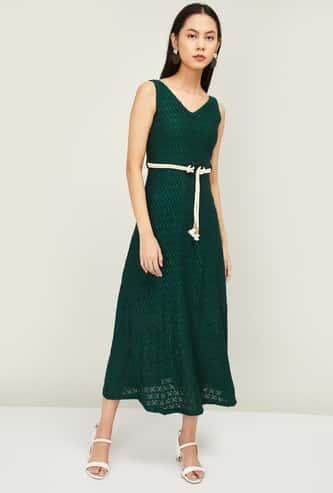 CODE Women V-neck Lace Midi Dress