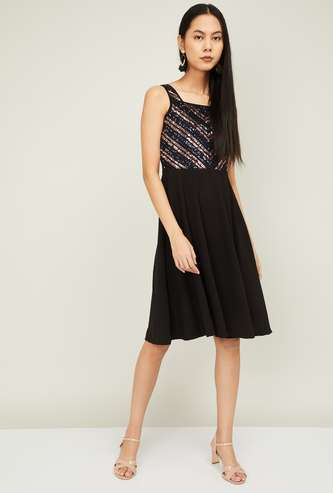 CODE Women Sequinned Sleeveless Fit and Flare Dress
