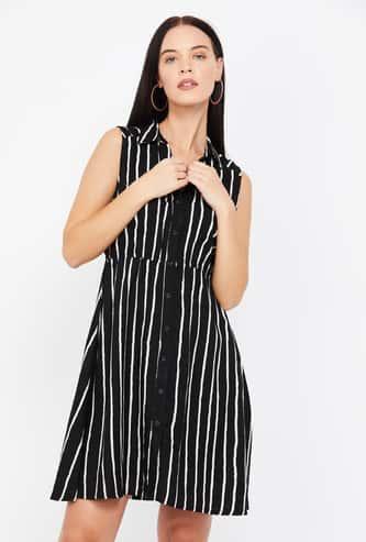 MS. TAKEN Striped Sleeveless Shirt Dress