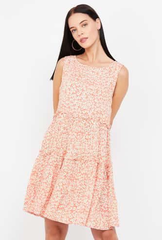 MS. TAKEN Floral Print Sleeveless A-line Dress